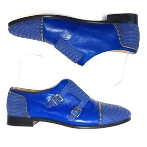 Rachel Zoe Royal Blue snake Leather Buckle shoes